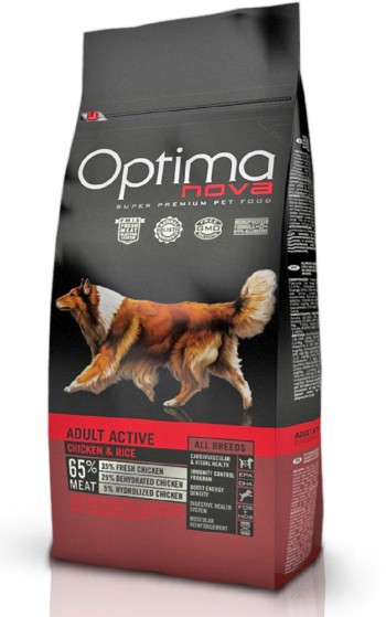 OPTIMA NOVA CANINE ADULT ACTIVE 12 KGS  con pollo y arroz