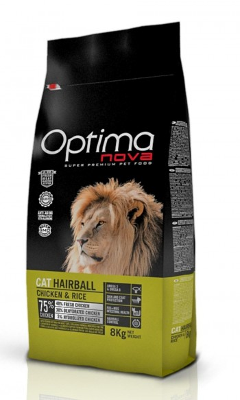 OPTIMA NOVA FELINE HAIRBALL con pollo y arroz